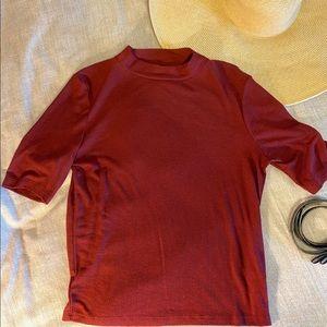 High Collar Maroon Stretch Knit Top
